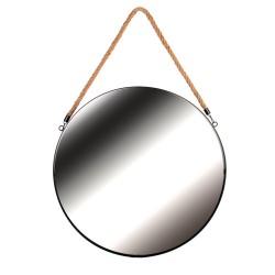 Miroir ACERO - Noir & anse en Jonc