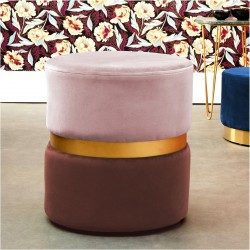 Tabouret YANY - Velours nuances de Blush