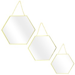Trio de miroirs  HEXAGONE - Gold