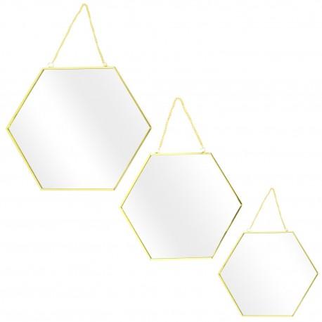 Trio de miroirs  HEXAGONE - Gold