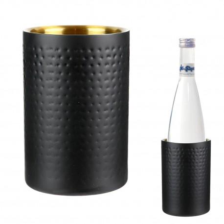 Rafraîchisseur à bouteille MARTY - Acier noir mat martelé & doré