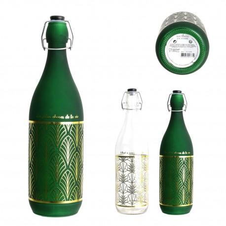 Duo de bouteilles de table ARTSY - Transparent, Emeraude & Or