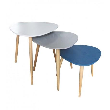 Trio de tables GALET - Bleu canard, Gris & Blanc