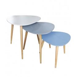 Trio de tables GALET - Bleu Pastel, Gris & Blanc
