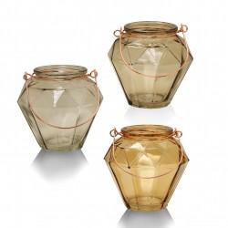 Trio de photophores DIAMOND - verre soufflé & anse cuivrée