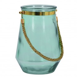 Photophore / Vase - verre soufflé Water Blue & Gold