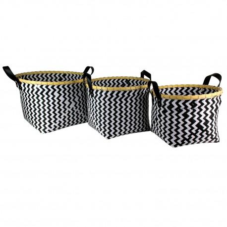Trio de paniers tressés OBBO - Black & White