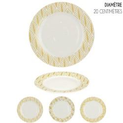 Set de 6 Assiettes porcelaine White & Gold ART DECO - 20 cm - 3 motifs au choix