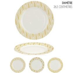 Set de 6 Assiettes porcelaine White & Gold ART DECO - 26,5 cm - 3 motifs au choix