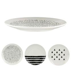 Set de 6 Assiettes porcelaine Black & White  - 20,5 cm - 3 motifs au choix
