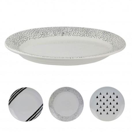 Set de 6 Assiettes porcelaine Black & White  - 27 cm - 3 motifs au choix