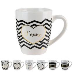 Mug Black, white & Gold MESSAGE - 6 motifs au choix