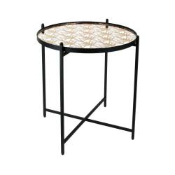 Table basse MIRA - Noir, miroir & or