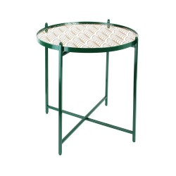 Table basse MIRA - Vert émeraude, miroir & or
