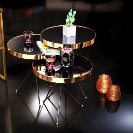 Trio de tables BRAZILIA - Laiton doré / Miroir fumé
