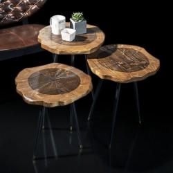 Trio de tables YOKO - Noyer cendré / Laiton doré