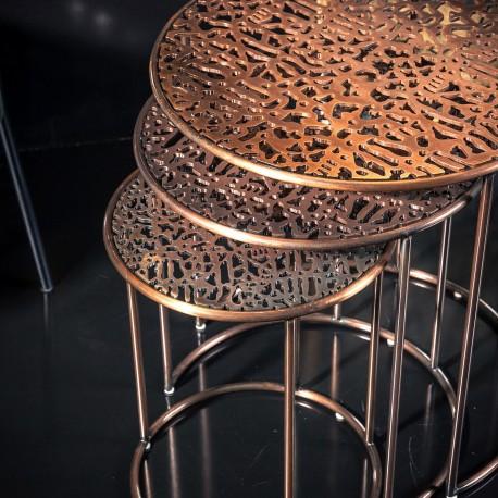 Trio de tables GABORONE - Cuivre moulé