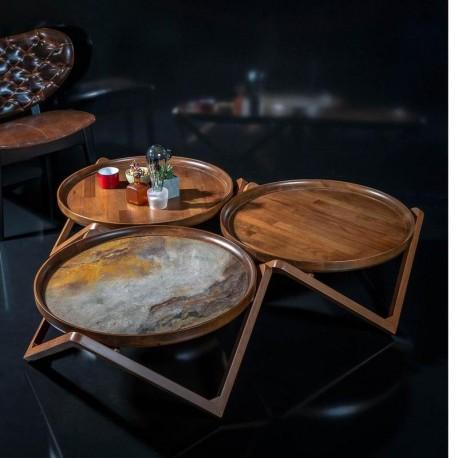 Table Basse VIENNA - Noyer & Pierre naturelle