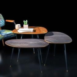 Trio de tables MINSK-  Nuances métallisées, Black & Laiton doré