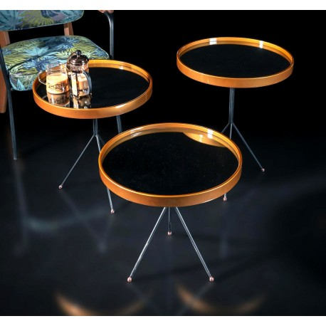 Trio de tables CANBERRA - Miroirs / Cuivre rosé