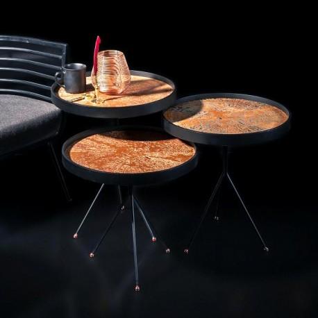 Trio de tables NASSAU - Mat Black / Cuivre rosé