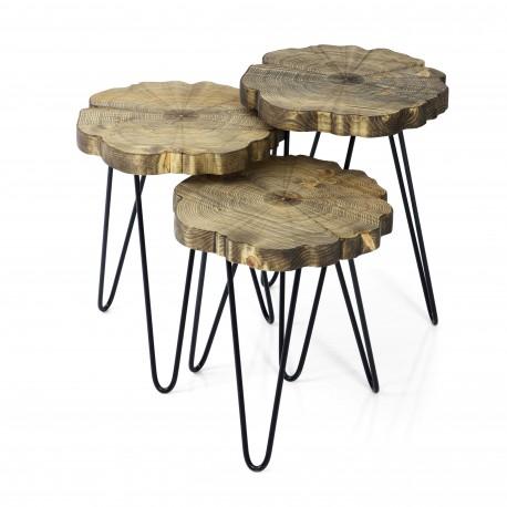 Trio de tables WOODY - Cendré