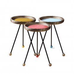 Trio de tables COLORS - Bois de chêne