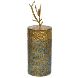 Boite Déco CORALIA - Patine turquoise & dorée