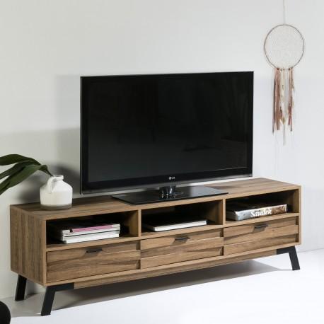 Meuble TV SOLY Chêne & acier mat black
