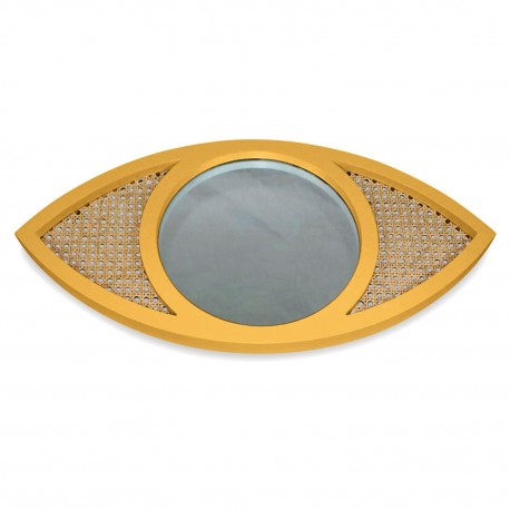 Mirroir EYE cannage - Miel