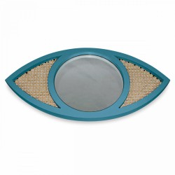 Miroir EYE cannage - Bleu canard