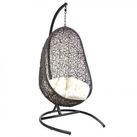 Fauteuil suspendu outdoor RIVA Noir à assise blanche