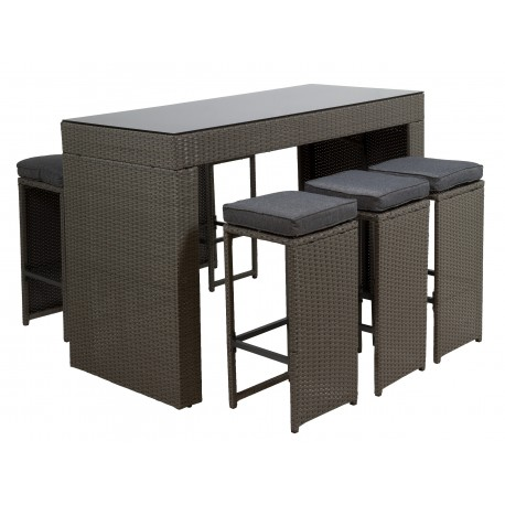 Ensemble table bar outdoor complet YETO ( Table + 7 tabourets )
