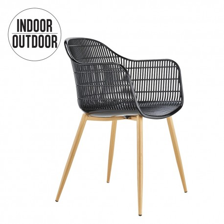 Chaise GRIDY - Indoor/Outdoor - Blanc & Noir