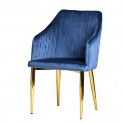 Fauteuil NYDA - Velvet & Gold Edition - Bleu Royal