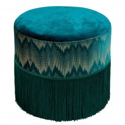 Tabouret LUXIA - Velours Green & Gold
