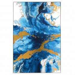 "Toile ""WAVES""  - Blue & Gold - 120x80cm"