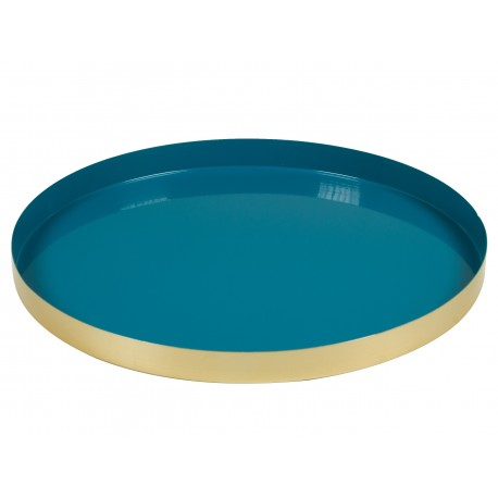 Plateau TRAYO - Laiton doré & émaillé bleu pastel