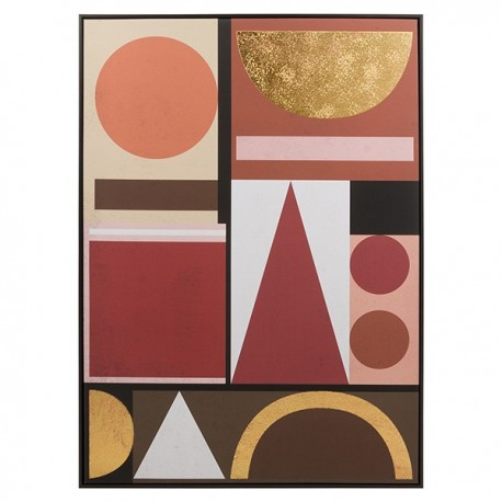 "Toile ""GEOMETRIA""  - Nuances pastel & Gold - 140x100cm"