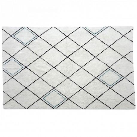 Tapis OURAIN 160x230 - Blanc à motifs Noirs & Bleus