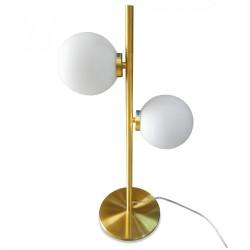 Lampe à poser GLOBUS - Laiton doré & Verre opalin