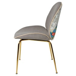 Chaise GAB Velvet & Gold - Taupe / Birdy