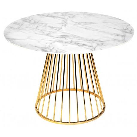 Table à manger RING Façon marbre - Gold Edition