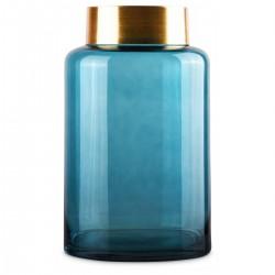 Vase SAYA en vere soufflé Bleu et à col en Laiton - LARGO