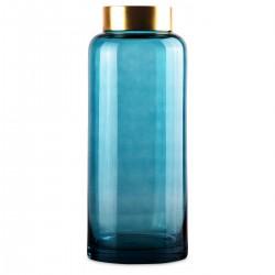 Vase SAYA en vere soufflé Bleu et à col en Laiton - LUNGO