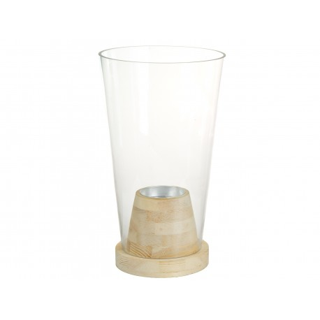 Vase TANGLE en verre soufflé et bois massif
