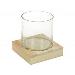 Vase JAZO en verre soufflé et bois massif