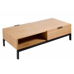 Table basse NEISA - Chêne & Acier noir mat