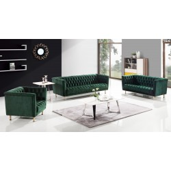 Salon PADRINO - 3+2+1 - Velours Emeraude