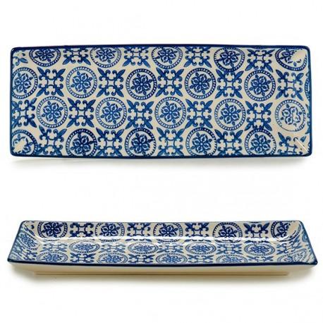 Plat en porcelaine BLUE ORIENT - Rectangulaire - 25x9,5cm